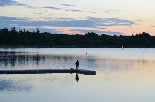 Angler at dusk